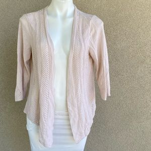Pink Knit Cascading Open Front High Low Cardigan